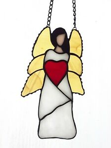 Angel Stained Glass Suncatcher, Handmade, Christmas Gift, White, 7 Inches