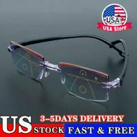 Rimless Progressive Bifocal Reading Glasses Anti-Blue Light Computer Goggles~