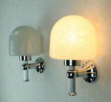pair of elegant vintage WALL LIGHTS sconces white glass chrome art déco style
