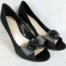 Merona High Heeled Pumps Slip On Shoes Black Bow Tie Size 7.5