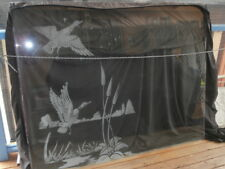 VINTAGE ETCHED FROSTED GLASS WINDOW PANEL FLYING GEESE DUCKS**PICK UP DAPTO**
