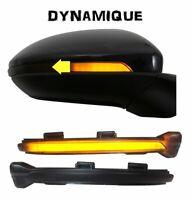 2 CLIGNOTANT LED DEFILANT DYNAMIQUE NOIR DE RETROVISEUR VW GOLF 7 / TOURAN 2