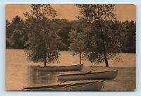 Crosslake, MN - c1940s HARRY ANDERSONS RESORT POSTCARD - CANOES & LAKE