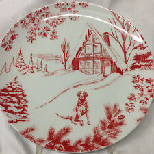 "EDDIE BAUER SPAL TOILE COLLECTION WINTER SCENE DOG SKI LODGE CABIN PLATE 8"" RED"