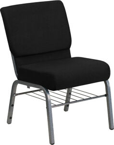 HERCULES Series 21''W Church Chair in Black Fabric with Book Rack - Silver Ve...