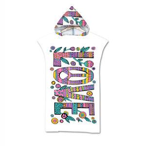 Hippie Woodstock Peace Love Flower Paisley Hooded Bath Swim Beach Poncho Towel