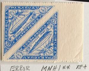 PARAGUAY 1932 ERROR Imperforated Vertical XF+ MNH/** ZEPPELIN Flight Airmails !!