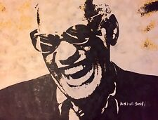 Ray Charles , Pop Art oil Painting On Canvas, Not Stretched.