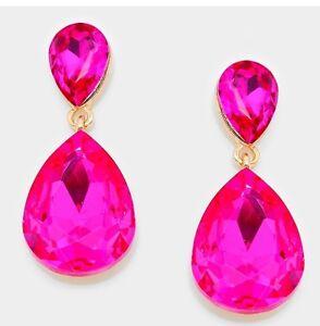 "1.75"" Drop Long Gold Hot Pink Fuchsia Rhinestone Dangle Crystal Prom Earrings"