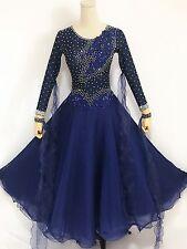 Ballroom Waltz Smooth Competition Dance Dress Navy Blue Tango Gown Custom made