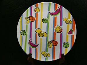 """Melamine 11"""" Serving Platter Abstract Fruit and Colored Stripes Design Watermelo"""