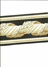 GRAY TAN AND BLACK LEAF AND ROPE SCROLL WALLPAPER BORDER TC043105B