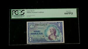 PCGS GEM 66 PPQ SERIES 661 ONE DOLLAR MILITARY PAYMENT CERTIFICATE $1 NOTE!