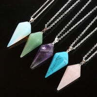 Natural Gem Hexagonal Pendant Necklace Crystal Chakra Point Healing Acces