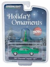 1:64 Greenlight *HOLIDAY ORNAMENTS 2016* Green Color Chrome 1967 Impala SS NIP!