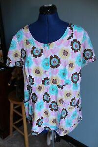 Women's Cherokee Studio Multicolor Floral/Hearts Short Sleeve Scrub Top ~L~
