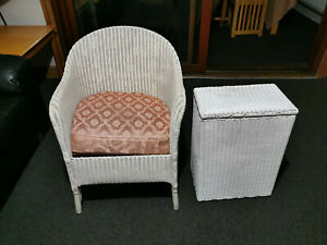 Vintage Lloyd Loom   Blanket Box With Chair