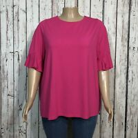 Jessica London Open Back Shirt 22W 24W Plus Pink Ruffled Sleeve Jersey Knit