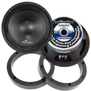 """1 Pair Audiopipe 8"""" 500W Mid Range Loud Speakers with 1"""" Plastic Spacer Rings"""