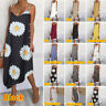 UK Women Swing Dress Strappy Button Ladies Summer Holiday Midi Dresses Size 8-26