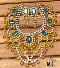 VTG BIJOUX M.G. CZECH RHINESTONE DEMI-PARURE -Bronze/Montana Blue