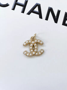 Chanel Gold CC Logo Button Metal Zipper Pull, Pearl, Stamped