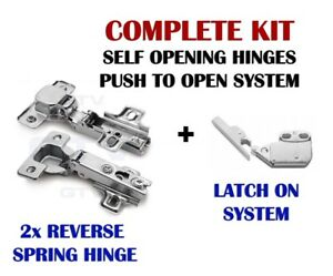 PUSH TO OPEN | SELF OPENING HINGES + LATCH ON SYSTEM FOR CABINETS DOORS