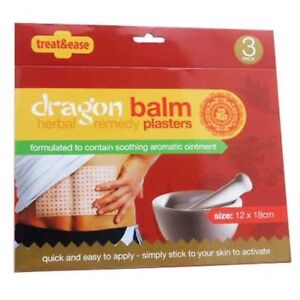 3 X Pain Relief Dragon Balm Herbal Back Body Plaster Patches Muscles Deep Heat