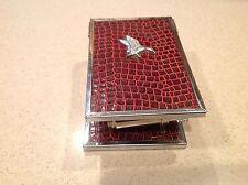 Vintage Shaving Kit: Cup Brush Mirror Folding Case Eagle Burgundy Cover Nice.