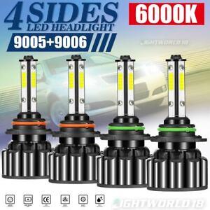 4-Sides Combo 9005 9006 White 6000K COB LED Headlight Kit Bulbs High Low Beam