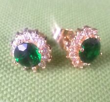 MR Green emeralds sim diamonds 18k yellow gold gf 11mm stud earrings BOXD PlumUK