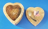 Vintage India Heart Shape Marble Trinket Jewelry Box With Flower Design