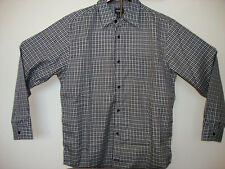 NWT Men's GUESS Black and White checkered plaid button down shirt New Old Stock