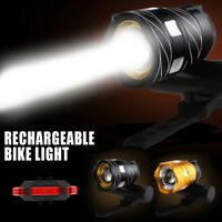 Rechargeable 15000LM XM-L LED MTB  Front&Rear set Bicycle Lights BikeHeadlight