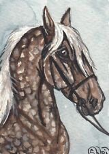 ACEO original Watercolor Art Card Horse fantastic Black Silver Dapple Drafter
