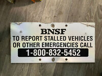 "BNSF Railway Crossing Emergency Contact Sign 8x16"" Metal Reflective"