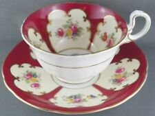 Aynsley Burgundy Rose Floral Cup & Saucer Pattern W463