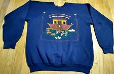 vintage 80s NOAH'S ARK sweatshirt XL blue crewneck 50/50 animals christian