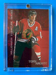 1999-00 Be A Player Millennium Signature ~ Tony Amonte #56 ~ Ruby Red Card /1000