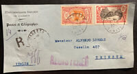 1922 Papeete Tahiti Registered Front Cover to Trieste Italy Sc#26