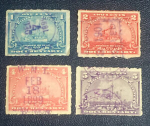 4 US BATTLESHIP DOCUMENTARY STAMPS USED 1 CENT 2 CENT 3 CENT 5 CENT USED BB2
