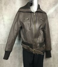 Size 14 Brown Leather Bomber Biker Jacket Real Leather Lined Tall New Look