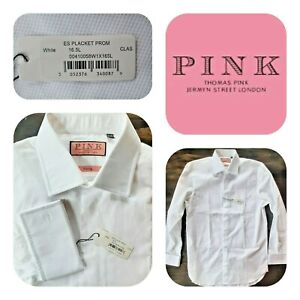 🆕️Thomas Pink Men's EVENING Shirt Placket Prom French Cuffs 16.5/36.5 White🆕️