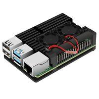 for Raspberry Pi 4 Aluminum Case with Dual Cooling Fan Metal Shell Black En V5U1