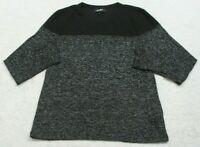 DKNY Black & Gray Cotton Spandex T-Shirt Top Large Long Sleeve Women's Crewneck