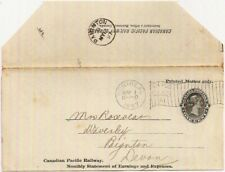 1897 Canadian Pacific Railway CPR Earnings Statement 1c wrapper printed matter