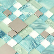 Kitchen Mosaic Blue Glass Tile White Printed Wall Tiles Backsplash(Pack of 11PCS