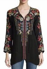 NWT Johnny Was 1X Women's Plus ROOMY EMILY BLOUSE Embroidered Tunic Top BLACK