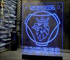 SCANIA With LOGO ILLUMINATING BLUE LED NEON ENGRAVING PLATE VIDEO !