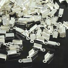 LOT de 100 EMBOUTS à écraser plier 12x5x4mm ARGENTE clair perles bijoux fil cuir